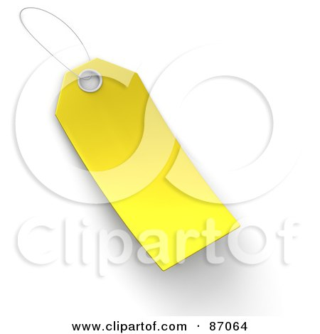 Royalty-Free (RF) Clipart Illustration of a Blank Yellow 3d Sales Tag by Tonis Pan