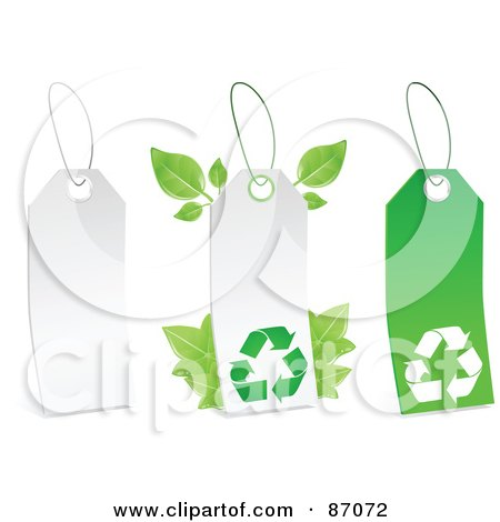 Royalty-Free (RF) Clipart Illustration of a Group Of White And Green Recycle Sales Tags - Version 2 by Tonis Pan