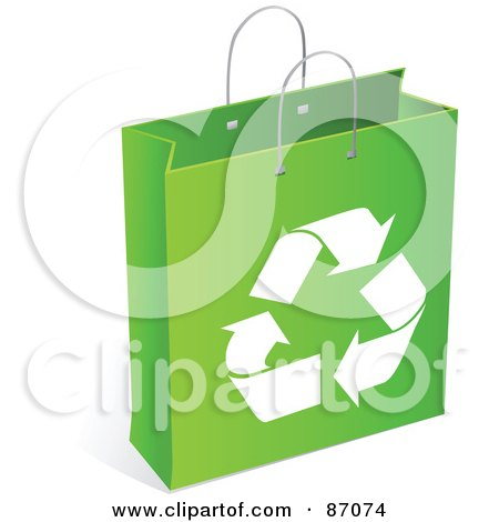 Royalty-Free (RF) Clipart Illustration of a Green And White Recycled Shopping Bag by Tonis Pan