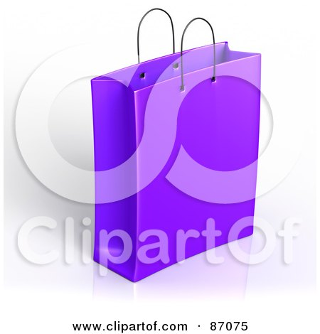 Royalty-Free (RF) Clipart Illustration of a Plain 3d Purple Shopping Or Gift Bag by Tonis Pan