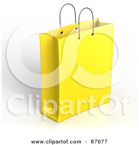 Royalty-Free (RF) Clipart Illustration of a Plain 3d Yellow Shopping Or Gift Bag by Tonis Pan