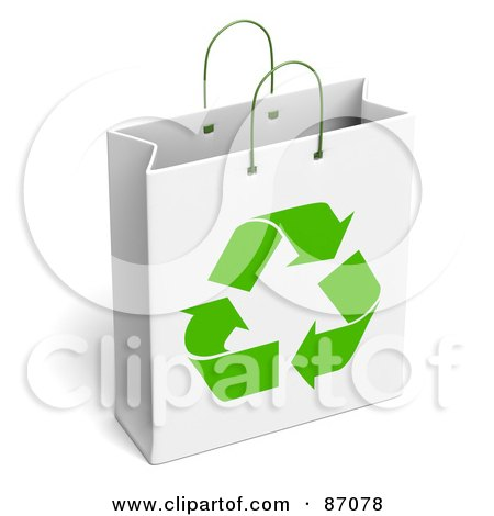 Royalty-Free (RF) Clipart Illustration of a White Recycled Gift Bag by Tonis Pan