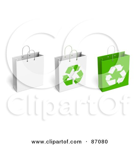 Royalty-Free (RF) Clipart Illustration of a Group Of Three Recycled Shopping Bags by Tonis Pan
