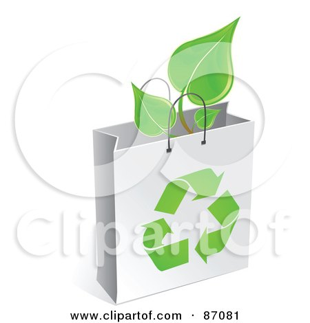Royalty-Free (RF) Clipart Illustration of a Plant In A White Recycled Gift Bag by Tonis Pan