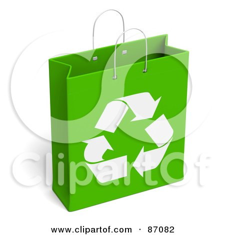 Royalty-Free (RF) Clipart Illustration of a Green And White Recycled Gift Bag by Tonis Pan