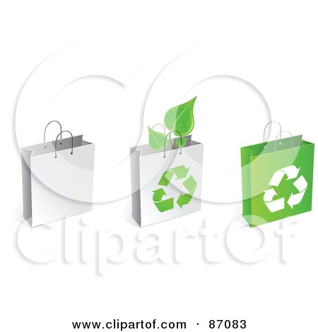 Royalty-Free (RF) Clipart Illustration of a Group Of Three Recycled Shopping And Gift Bags by Tonis Pan