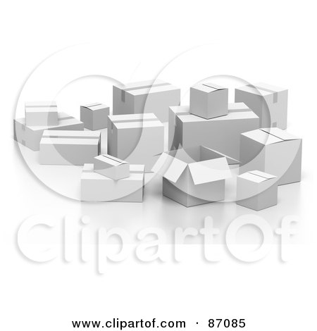 Royalty-Free (RF) Clipart Illustration of a Group Of Various 3d White Shipping Boxes by Tonis Pan