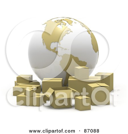 Royalty-Free (RF) Clipart Illustration of a 3d White And Tan Globe With Cardboard Boxes by Tonis Pan