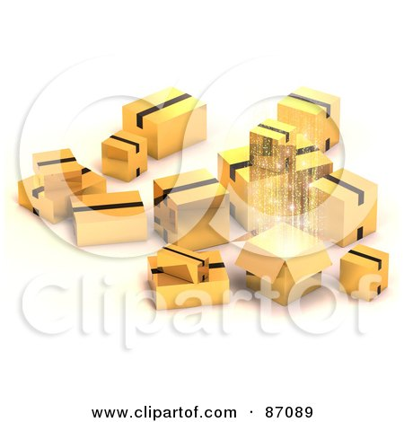 Royalty-Free (RF) Clipart Illustration of a Group Of Various 3d Gold Shipping Boxes, One With Bright Light by Tonis Pan