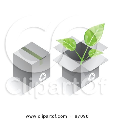 Royalty-Free (RF) Clipart Illustration of Two Recycled Cardboard Boxes With A Plant by Tonis Pan