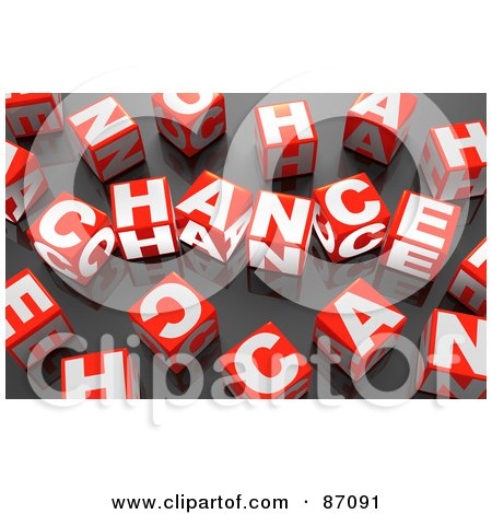 Royalty-Free (RF) Clipart Illustration of a 3d Red And White Chance Cubes On Black by Tonis Pan