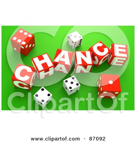 Royalty-Free (RF) Clipart Illustration of 3d Dice Around Red Chance Blocks On Green by Tonis Pan