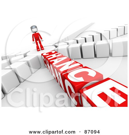 Royalty-Free (RF) Clipart Illustration of a 3d Person Standing On A Circle, With The Choice To Gamble Or Not by Tonis Pan