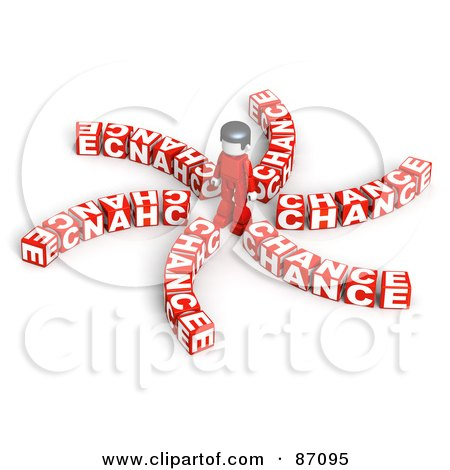 Royalty-Free (RF) Clipart Illustration of a 3d Person Surrounded By Chance Cubes by Tonis Pan