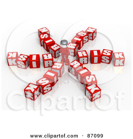 Royalty-Free (RF) Clipart Illustration of a 3d Person Standing And Surrounded By Risks by Tonis Pan