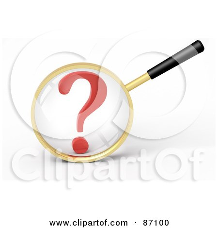 Royalty-Free (RF) Clipart Illustration of a 3d Golden Magnifying Glass Viewing A Large Red Question Mark by Tonis Pan
