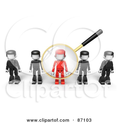 Royalty-Free (RF) Clipart Illustration of a 3d Golden Magnifying Glass Viewing A Red Man In A Row Of Black Ones by Tonis Pan