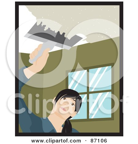 Caucasian Woman Using A Scraper Tool To Remove Popcorn Ceiling In Her House Posters, Art Prints