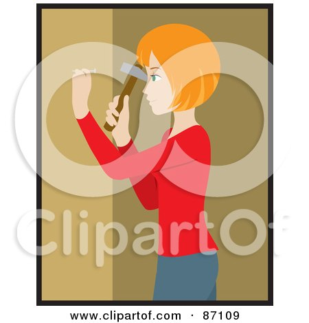 Red Haired Caucasian Woman Hammering A Nail Into Her Tan Wall While Decorating Posters, Art Prints