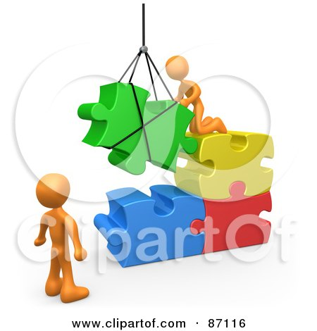 Royalty-Free (RF) Clipart Illustration of 3d Rendered Orange Men Directing A Hoisted Puzzle Piece Into A Space by 3poD