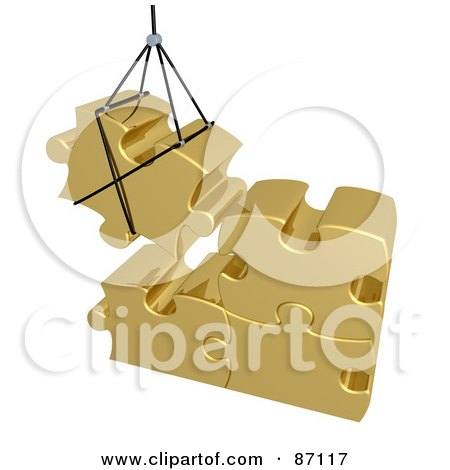 Royalty-Free (RF) Clipart Illustration of a 3d Rendered Gold Puzzle Piece Hoisted And Preparing To Connect To Other Pieces by 3poD
