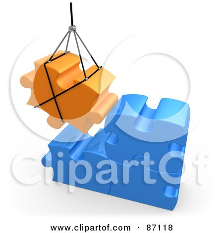 Royalty-Free (RF) Clipart Illustration of a 3d Rendered Orange Puzzle Piece Hoisted And Preparing To Connect To Blue Pieces by 3poD