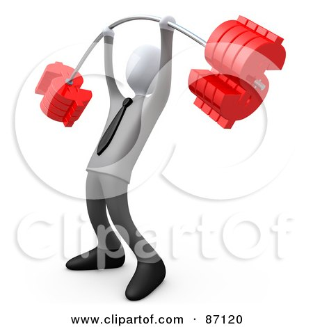 Royalty-Free (RF) Clipart Illustration of a 3d Rendered White Businsessman Lifting A Heavy Barbell With Dollar Symbol Weights by 3poD