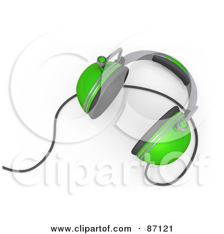 Royalty-Free (RF) Clipart Illustration of a 3d Rendered Pair Of Green Headphones by 3poD