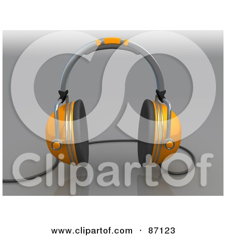 Royalty-Free (RF) Clipart Illustration of a 3d Rendered Pair Of Orange Headphones by 3poD