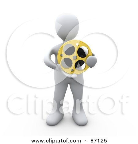 Royalty-Free (RF) Clipart Illustration of a 3d Rendered White Person Holding A Film Reel by 3poD