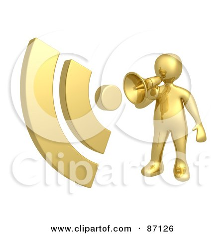 Royalty-Free (RF) Clipart Illustration of a 3d Rendered Gold Announcer With A Megaphone by 3poD
