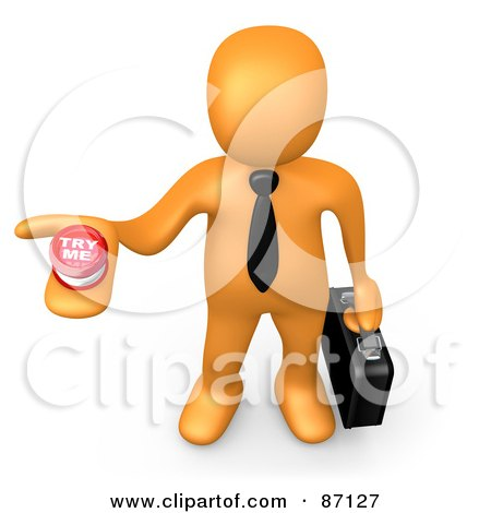 Royalty-Free (RF) Clipart Illustration of a 3d Rendered Job Hunting Orange Businessman Holding Out A Try Me Button by 3poD