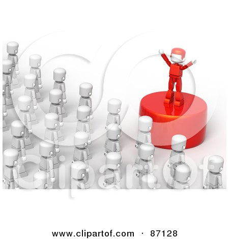 Royalty-Free (RF) Clipart Illustration of a Red Leader On A Podium Speaking To A Crowd by Tonis Pan