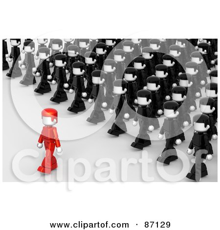 Royalty-Free (RF) Clipart Illustration of a Crowd Of 3d People In Uniforms Following A Leader by Tonis Pan