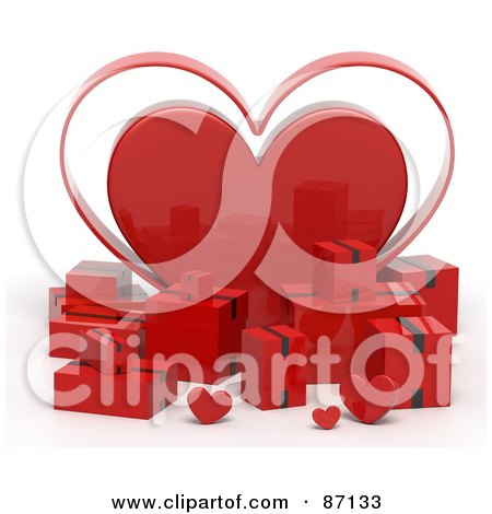 Royalty-Free (RF) Clipart Illustration of 3d Red Shipping Boxes With A Giant Heart by Tonis Pan
