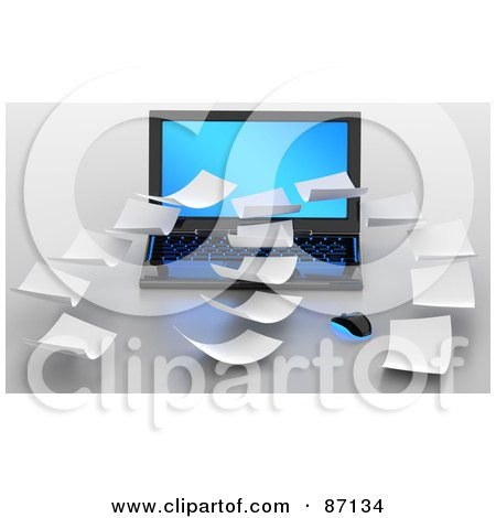 Royalty-Free (RF) Clipart Illustration of 3d Floating Papers Over A Laptop by Tonis Pan