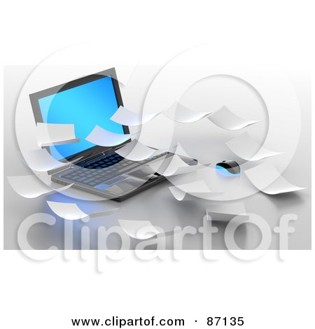 Royalty-Free (RF) Clipart Illustration of 3d Papers Over A Laptop by Tonis Pan