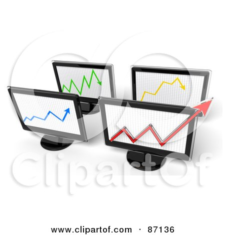 Royalty-Free (RF) Clipart Illustration of a Group Of 3d Screens With Arrow Graphs by Tonis Pan