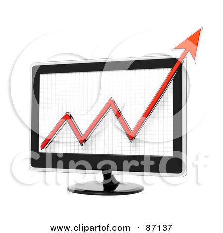 Royalty-Free (RF) Clipart Illustration of a Red Arrow Graph On A 3d Screen by Tonis Pan