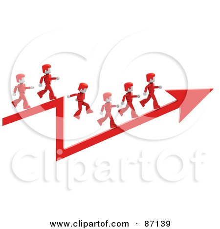 Royalty-Free (RF) Clipart Illustration of 3d Red People Walking On An Arrow by Tonis Pan