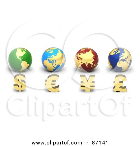 Royalty-Free (RF) Clipart Illustration of 3d Golden Currency Symbols In Front Of Globes by Tonis Pan