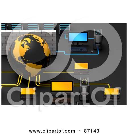 Royalty-Free (RF) Clipart Illustration of a 3d Globe With A Brick Wall And Computers In A Network by Tonis Pan