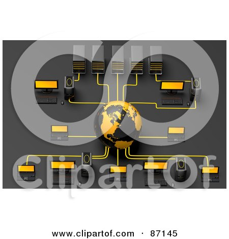 Royalty-Free (RF) Clipart Illustration of a 3d Globe And In A Computer Network by Tonis Pan