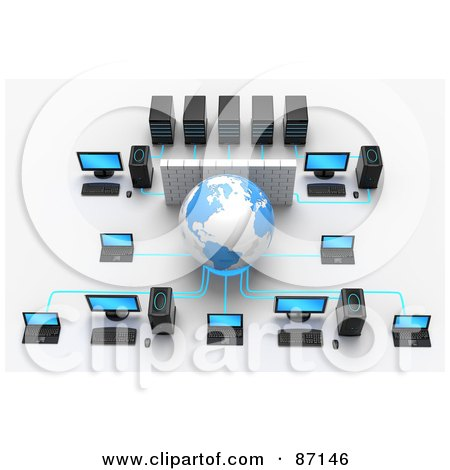 Royalty-Free (RF) Clipart Illustration of a 3d Globe And Wall In A Computer Network by Tonis Pan