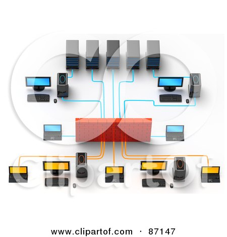Royalty-Free (RF) Clipart Illustration of a Complex Computer Server With A Brick Firewall by Tonis Pan