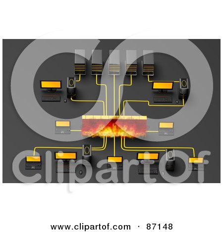 Royalty-Free (RF) Clipart Illustration of a 3d Computer Network With A Firewall by Tonis Pan