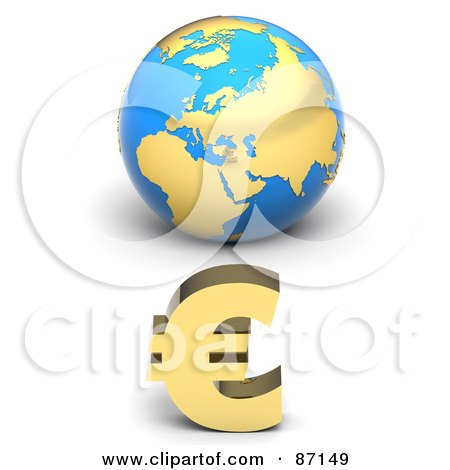 Royalty-Free (RF) Clipart Illustration of a 3d Golden Euro Symbol In Front Of A Blue European Globe by Tonis Pan