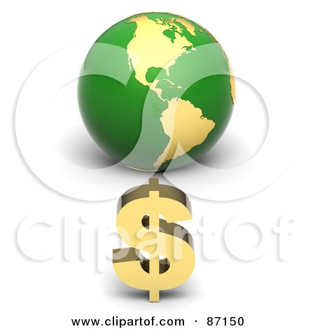 Royalty-Free (RF) Clipart Illustration of a 3d Golden Dollar Symbol In Front Of A Green American Globe by Tonis Pan