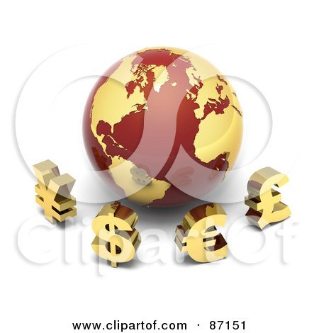 Royalty-Free (RF) Clipart Illustration of 3d Golden Yen, Dollar, Euro And Pound Currency Symbols In Front Of A Red And Gold Globe by Tonis Pan