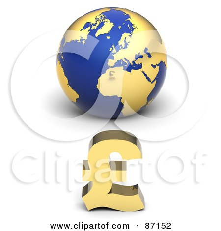Royalty-Free (RF) Clipart Illustration of a 3d Golden Pound Symbol In Front Of A Blue Globe by Tonis Pan